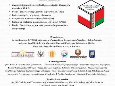 """Konferencja pn. """"Polska i Białoruś we współczesnej Europie"""""""